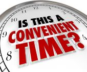 Is This a Convenient Time Question Clock — Stock Photo