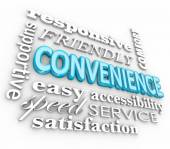 Convenience 3d Word Collage Fast Friendly Service — Stock Photo