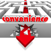 Convenience Word Arrow Breaks Through Maze Walls — Stock Photo