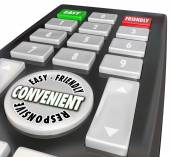 Convenience Remote Control User Friendly Easy Responsive Words — Stock Photo