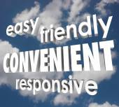 Convenient Easy Friendly Responsive 3d Words Clouds Sky — Stock Photo