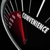 Convenience word on speedometer — Stockfoto