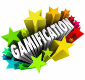 Gamification Word Stars Fireworks Exciting Online Learning Game — Stock Photo
