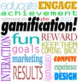 Gamification Words Interaction Education Engagement Achievement — Stock Photo