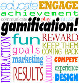 Gamification Words Interaction Education Engagement Achievement — Stok fotoğraf