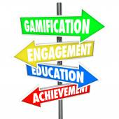 Gamification Engagement Education Achievement Arrow Signs — Stok fotoğraf