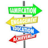 Gamification Engagement Education Achievement Arrow Signs — Zdjęcie stockowe