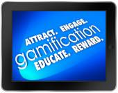 Gamification Tablet Computer Attract Engage Educate — Stock Photo