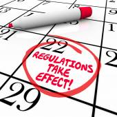 Regulations Take Effect Calendar Day Date Circled Reminder — Stock Photo