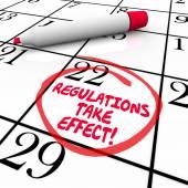 Regulations Take Effect Calendar Day Date Circled Reminder — Stock Photo