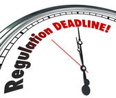 Regulation Deadline Clock Countdown Time Words — Stock Photo
