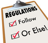 Regulations Follow or Else Checklist Boxes Evaluation Clipboard — Stock Photo