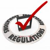 Regulations Word Check Mark Box Rules Followed Completed — Stock Photo
