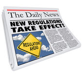 New Regulations Take Effect Newspaper Headline Information — Stock Photo
