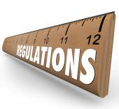 Regulations Word Wooden Ruler Measurement Rules Guidelines — Stock Photo