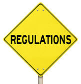 Regulations Yellow Warning Yield Sign Beware Rules Laws — Stock Photo