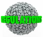 Regulations Word Letter Ball Sphere Rules Laws Guidelines — Stock Photo