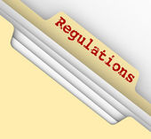 Regulations Word Red Ink File Manila Folder Tab Documents — Stock Photo