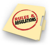 Rules Regulations Manila Folder Stamped Documents Files — Stock Photo