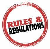 Rules and Regulations Red Ink Stamp Follow Laws Guidelines — Stock Photo
