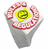 Rules Regulations Paperwork Stack — 图库照片