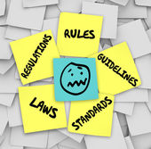 Rules Regulations Laws Standards Sticky Notes Stressed Face — Stock Photo