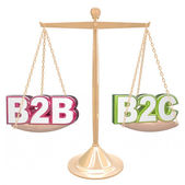 B2B vs B2C Selling to Business or Conumers Letters on Scale — Stock Photo