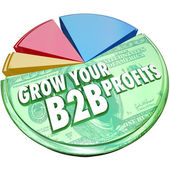 Grow Your B2B Profits Pie Chart Increase Business Sales — Foto de Stock