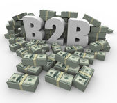 B2B Money Stacks Cash Piles Earnings Profits Business Sales — 图库照片