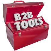 B2B Tools Red Toolbox Business Selling Resources — Stock Photo
