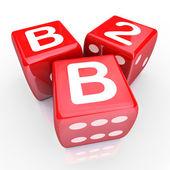 B2B Letters Three Red Dice Gamble Betting — Stock Photo