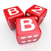 B2B Letters Three Red Dice Gamble Betting — Stock Photo