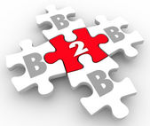 B2B Puzzle Pieces Business to Business Connections Networking — Stock Photo