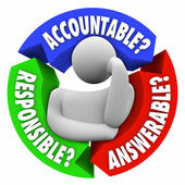 Accountable, Responsible and Answerable words — Stock Photo