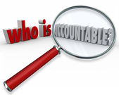 Who is Accountable question in 3d words — Stock Photo