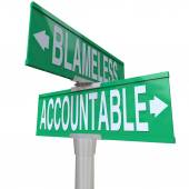Accountable Vs Blameless Two Way Road Street Intersection Signs — Stock Photo