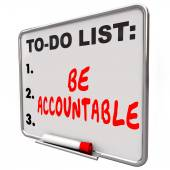 Be Accountable To Do List Take Responsibility Blame Credit — Foto Stock