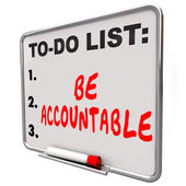 Be Accountable To Do List Take Responsibility Blame Credit — Stockfoto