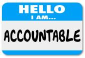 Hello I Am Accountable words on a name tag sticker — Stock Photo