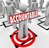 Accountable Word Targeted Person Pinning Blame on Worker Org Cha — Foto de Stock