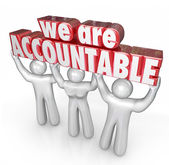 We Are Accountable 3d words lifted by a team — Stock Photo