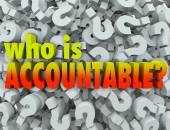 Who is Accountable Responsible Words Question Marks — Stock Photo