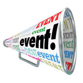 Event Word Bullhorn Megaphone Advertising Marketing Special Gath — Stock Photo