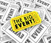 Big Event Golden Yellow Ticket Special Admission Access — Stock Photo