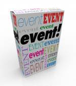 Event Word Package Box Advertise Special Show Meeting — Stock Photo
