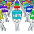 People Holding Habits Words Successful Routines Achieve Goals — Stock Photo #55028119