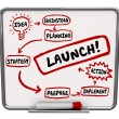 Launch New Business Dry Erase Board Plan Strategy Success Start — Stockfoto #55029791