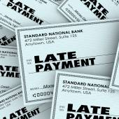 Late Payment Words Overdue Check Paying Bills Pile — Stock Photo
