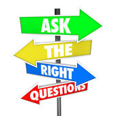 Ask the Right Questions Arrow Signs Find Answers — Stock Photo