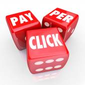 Pay Per Click Words Dice PPC Online Internet Advertising Traffic — Stock Photo